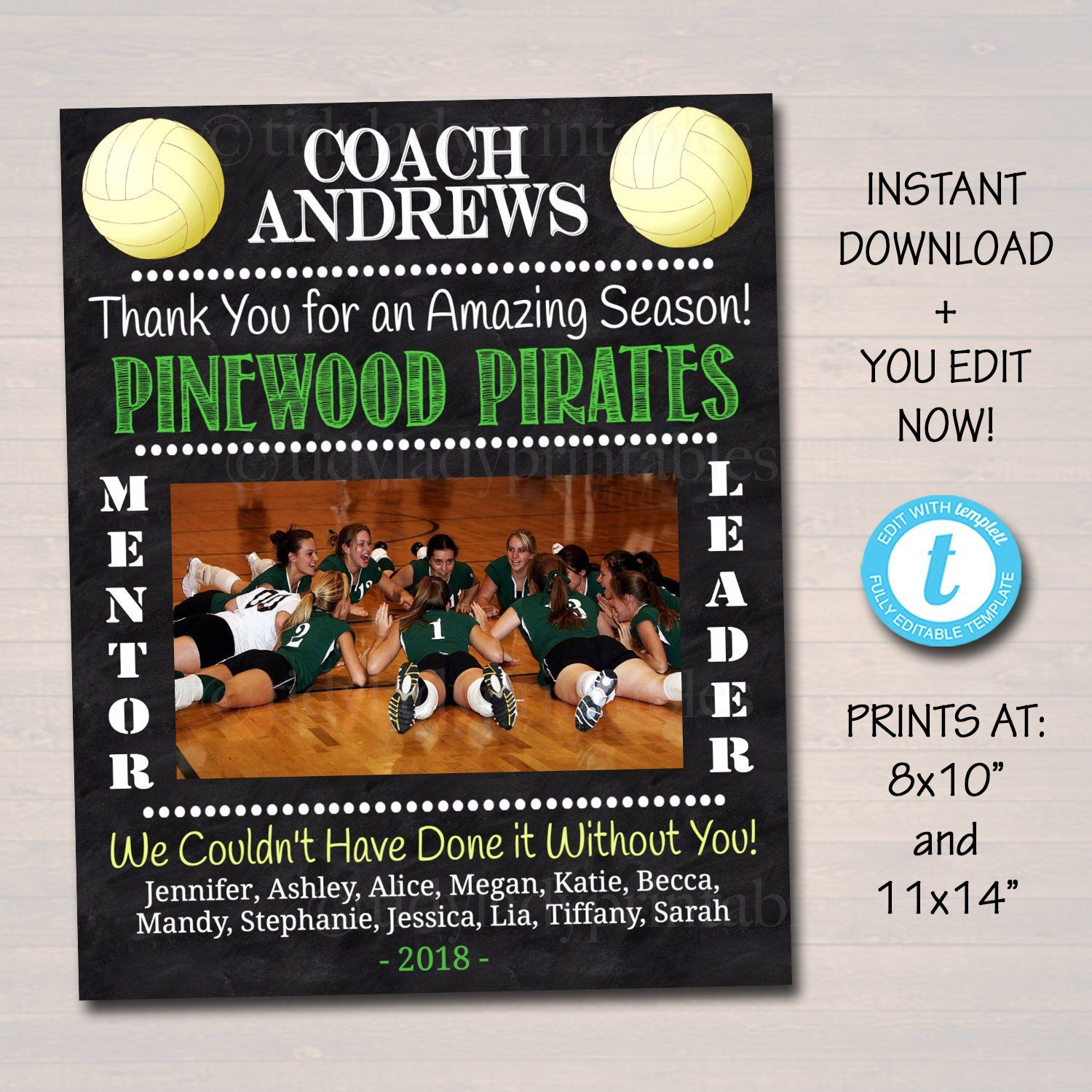 Volleyball Coach Gift Coach Award Team Gift End Of Season Volleyball Party Custom Best Coach Gift Volleyball Photo Printable With Images Volleyball Coach Gifts Coach Gifts Coaching Volleyball