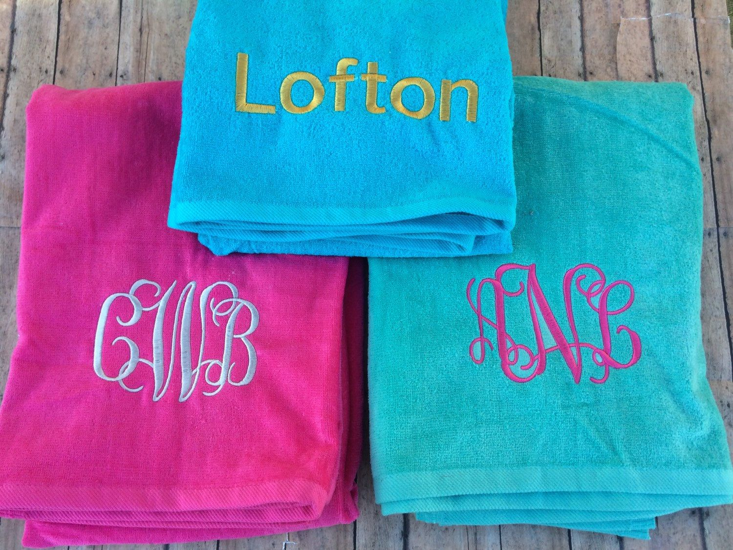 Personalized Towels for Beach -- I would so much rather buy these from her  than. Monogrammed ...