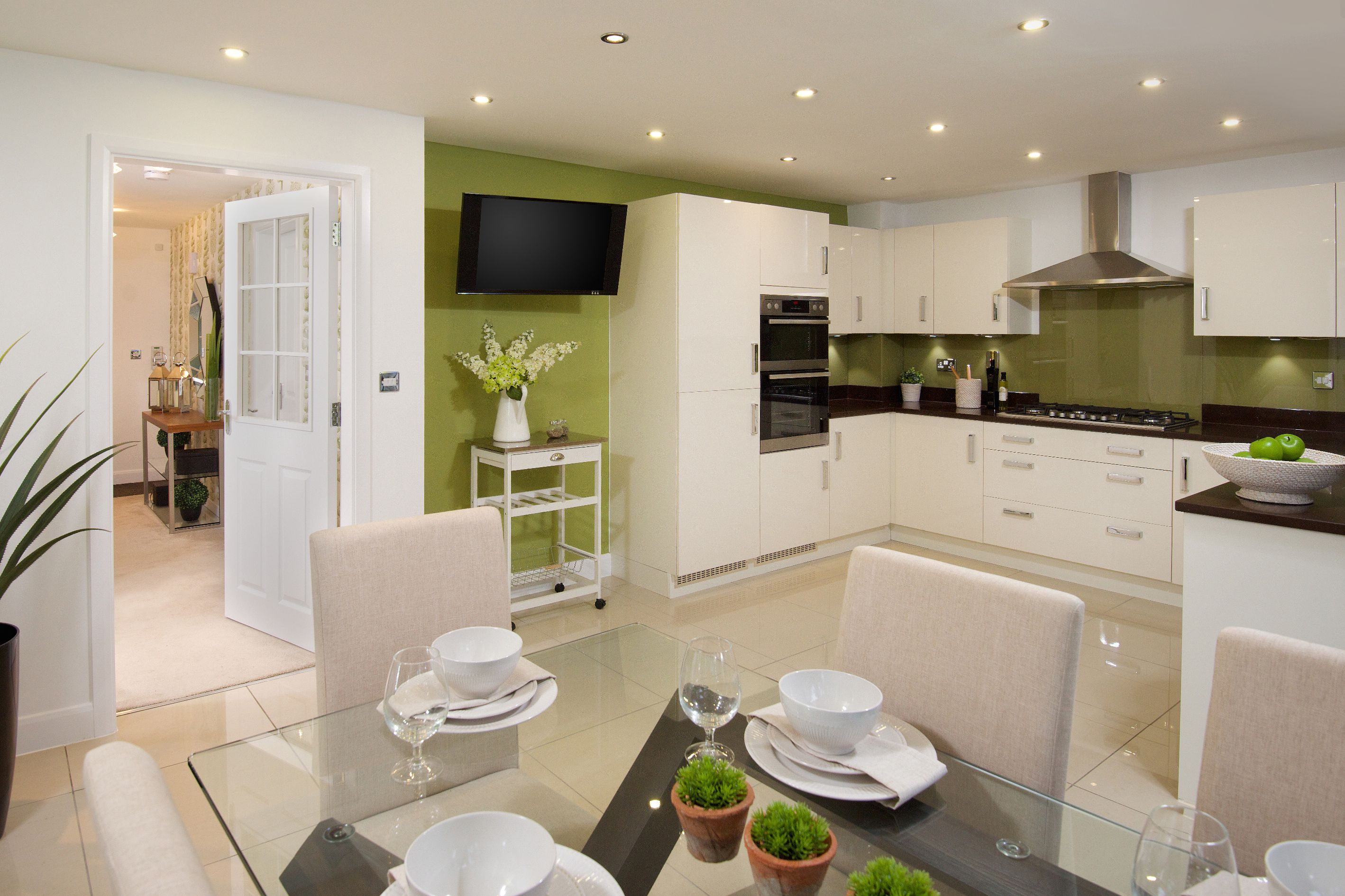 This high gloss white kitchen is perfect for family homes From a David Wilson Homes show homes