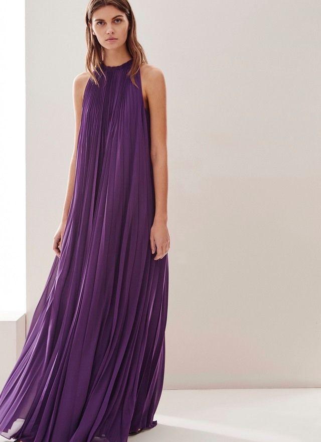 Vestido plisado de cuello halter … | Pinteres…