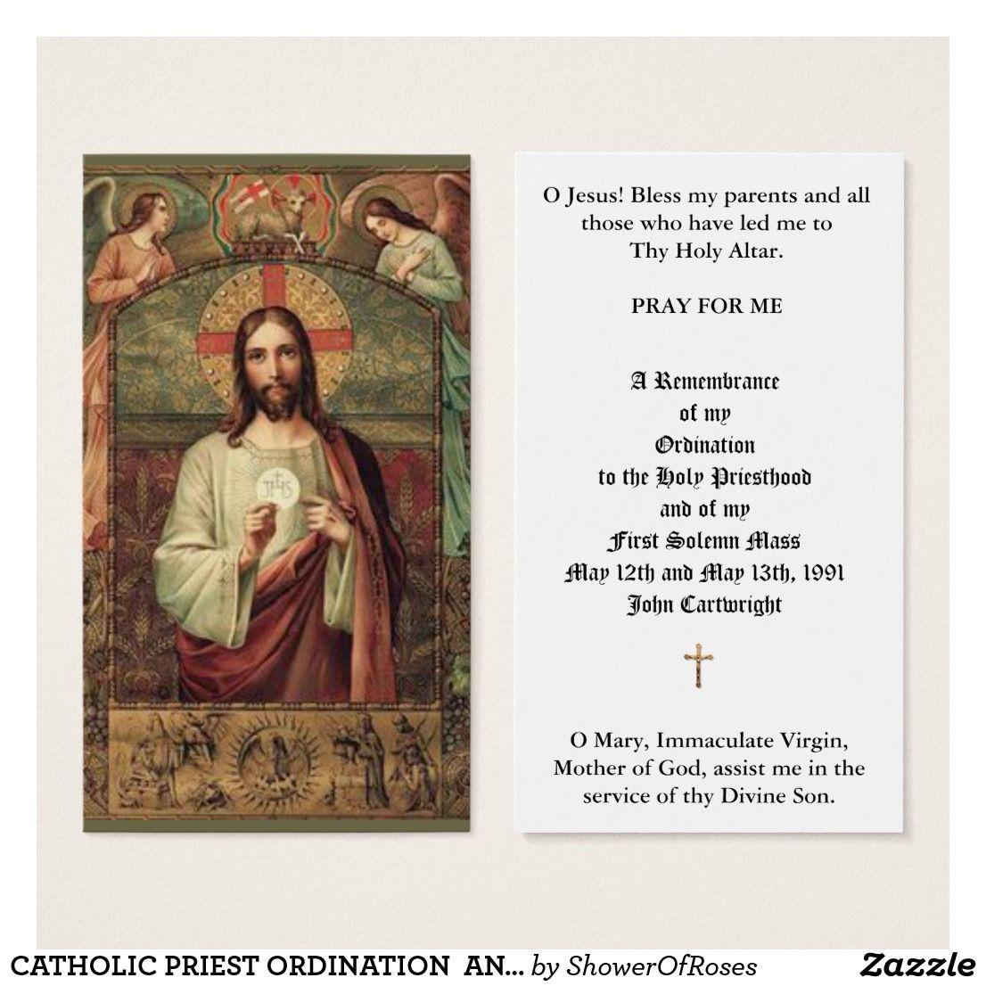 Catholic Priest Ordination Anniversary Holy Cards Zazzle Com