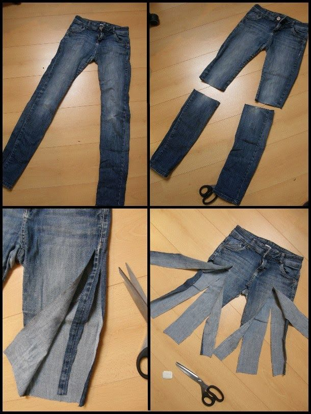 Transformer un vieux jeans en jupe upcycled clothing sewing ideas and repurposed - Transformer un jean en jupe ...