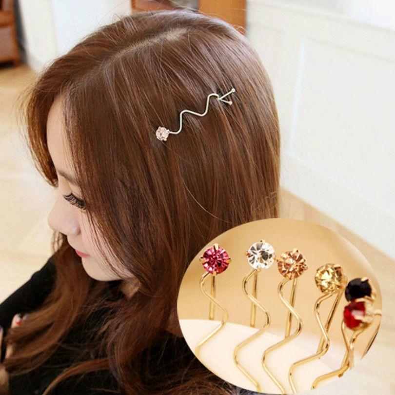 2016 الكورية موضة تقليد القوس موجة النوم فتاة ليو Haijia القاسي كلمة مجلد المجوهرات بالجملة الكريستال دبو Crystal Hair Pins Wholesale Jewelry Wholesale Crystal