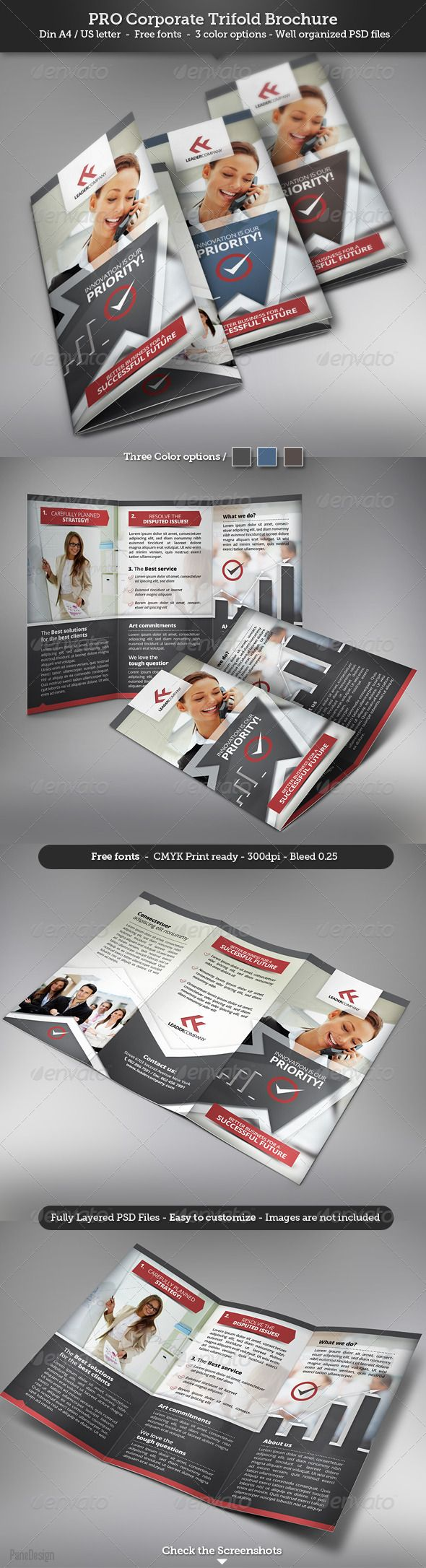 Corporate Trifold Brochure #GraphicRiver Features Fully Editable
