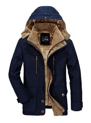 Black Men Warm Thicken Waterproof Quilted Parka Outwear DANLIA Puffer Jacket Hooded Winter Coat