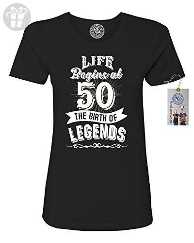 Life Begins At 50 Legends Birthday Gift Womens Short Sleeve T Shirt Black XSmall - Birthday shirts (*Amazon Partner-Link)