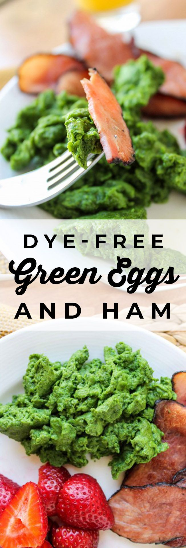 Dye-Free Green Eggs and Ham from The Food Charlatan. Green eggs and ham, just like in the Dr. Seuss book! Instead of dying the eggs with food coloring, we're using spinach to get that bright green color. It tastes delicious and is so fun for the kids! It's perfect for St. Patrick's Day too! #eggs #nodye #green #spinach #ham #breakfast #DrSeuss #stpatricksday #healthy #greeneggsandhamrecipe