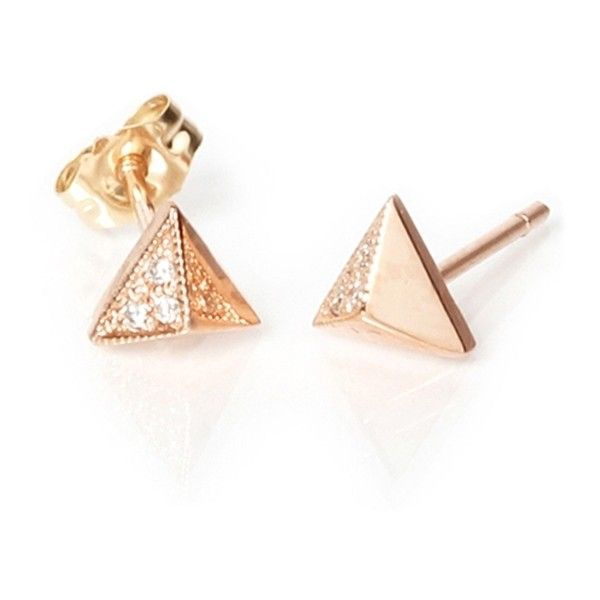c28b49f5d ZOE CHICCO Small Diamond Pyramid Stud Earrings found on Polyvore featuring  jewelry, earrings, diamond jewelry, diamond jewellery, round diamond  earrings, ...