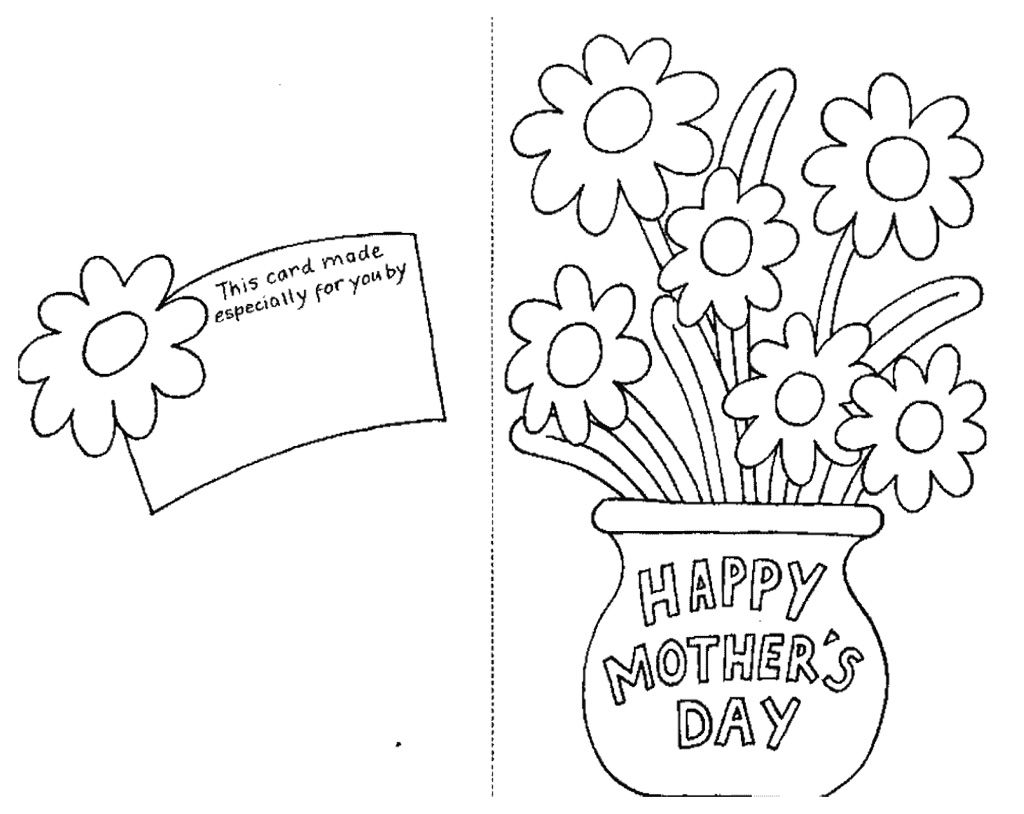 Card For Mothers Day Coloring Page Picture Kids