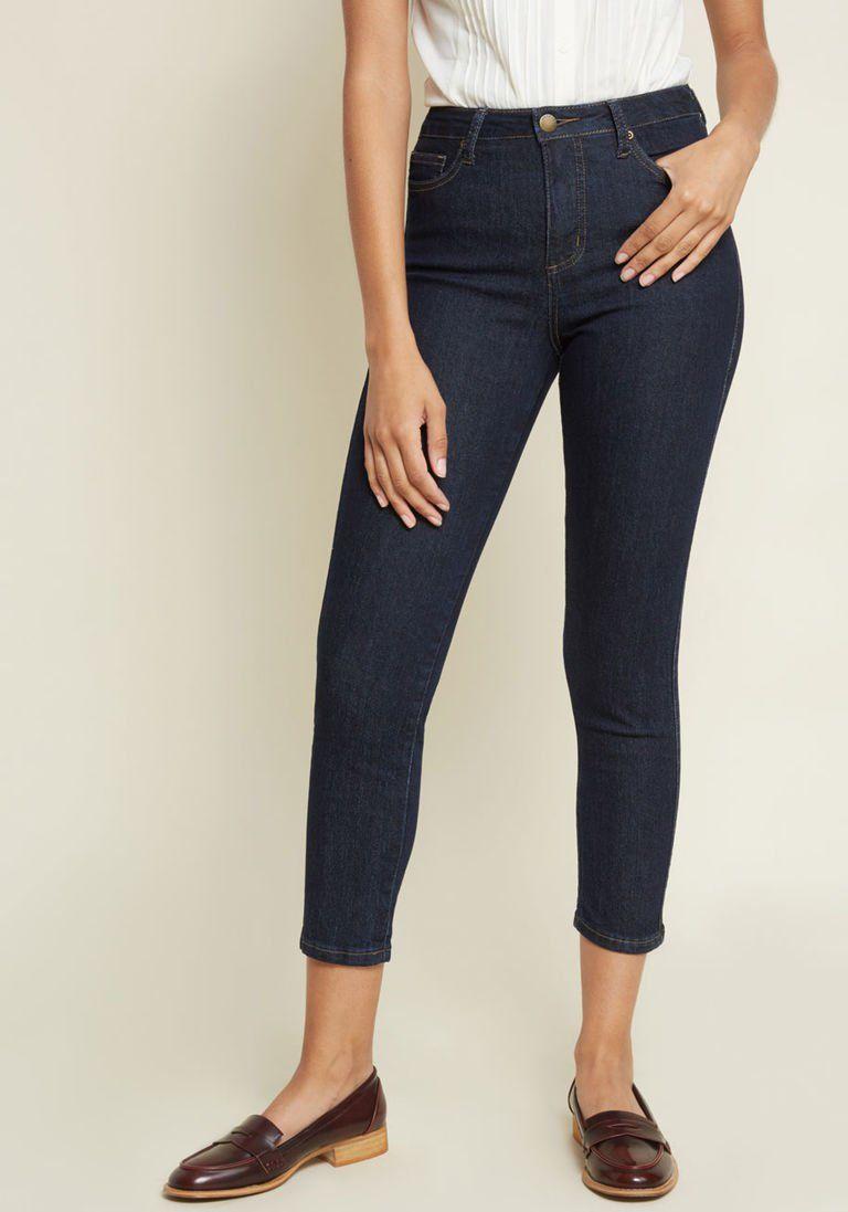 d73d7ded9c96 Karaoke Seamstress Zipped Skinny Jeans in Dark Wash - 26 in. in 26 - Skinny  Denim Pant Ankle by ModCloth