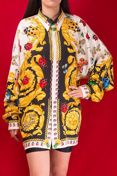 d2b2de92 Vintage Gianni Versace Baroque Ladybug and Butterfly Print Silk Shirt  @irvrsbl