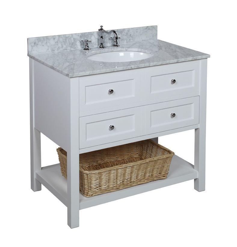 36 Carrera Marble Top White Bathroom Vanity W Shelf 115carr