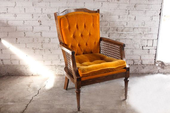 Attractive Vintage Orange Velvet Tufted Cane Accent Chair | Vintage, Chairs And Etsy