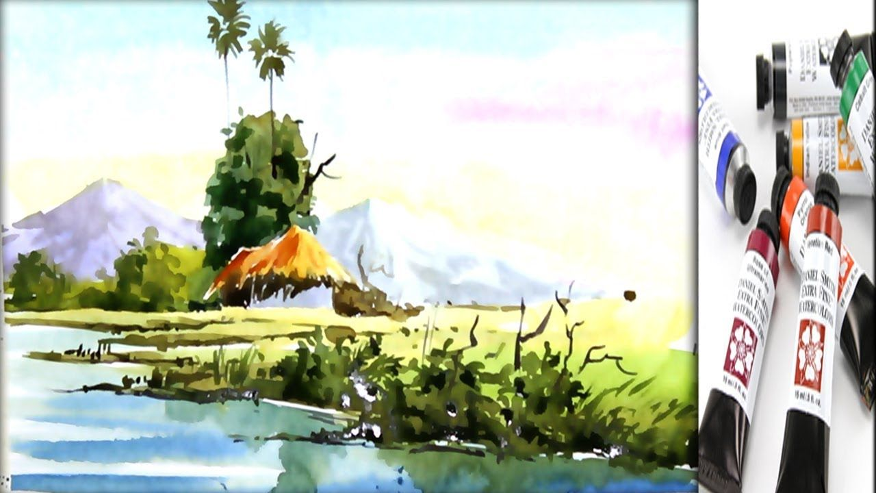 Nature Scenery Watercolor Painting For Beginner Watercolor