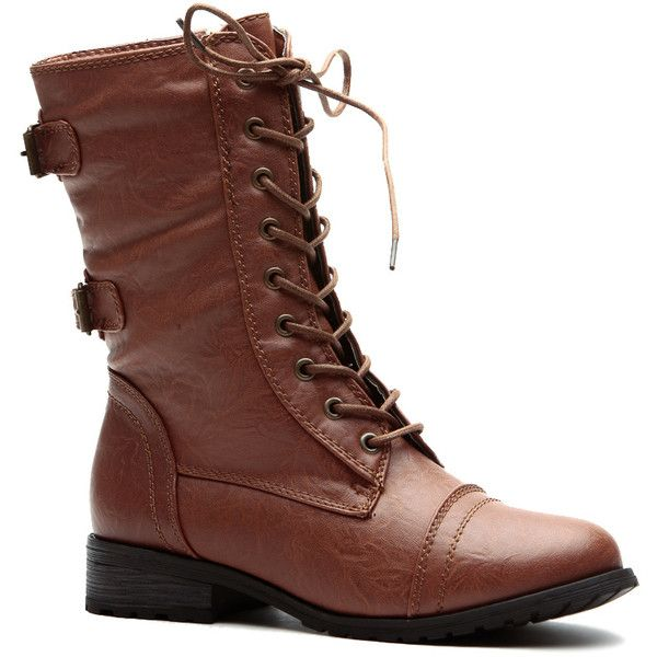CiCiHot Whiskey Cadet Kelly Faux Leather Lace Up Combat Boots ($29) ❤ liked on Polyvore