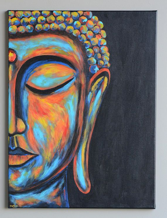 Buddha painting, Original Buddha art, Boho decor, Buddha face, Zen Art, Meditation art, Buddha decor, Gift for Dad, Buddhist decor,Abstract #buddhadecor