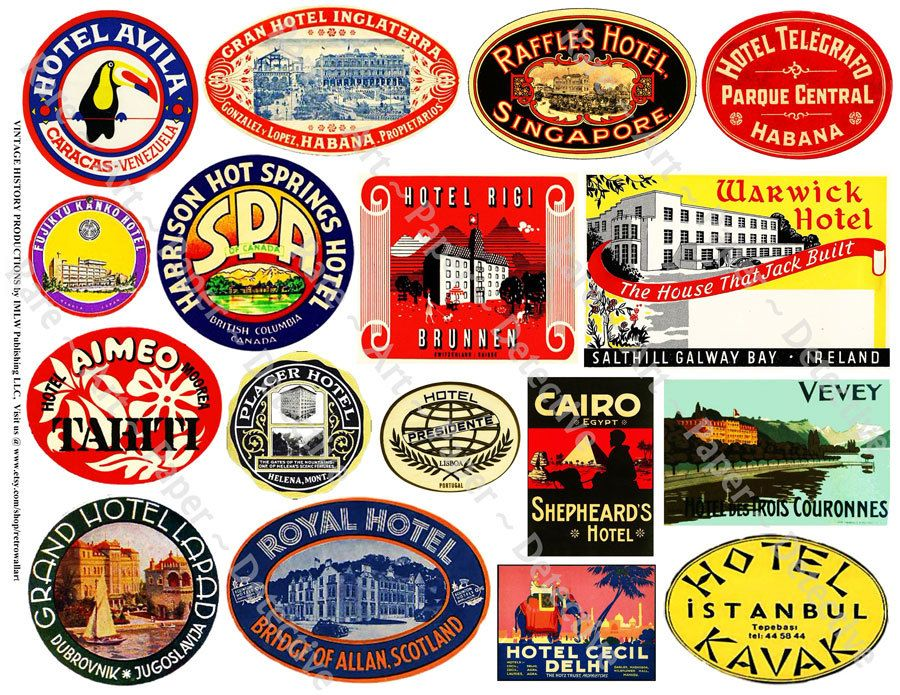 Hotel Luggage Labels, Printed Sheet, Retro Art Paper ...