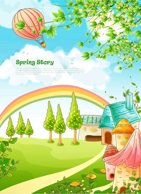 Beautiful cartoon spring scenery vector graphics 03 Vectors