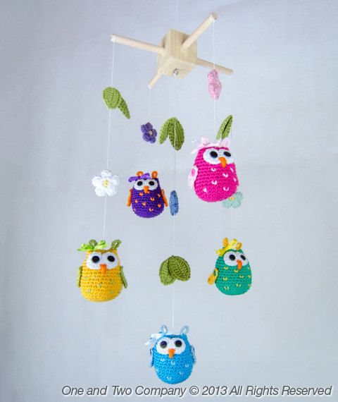 Instant Download  PDF Crochet Pattern PHOTOTUTORIAL - Owls and Flowers Mobile