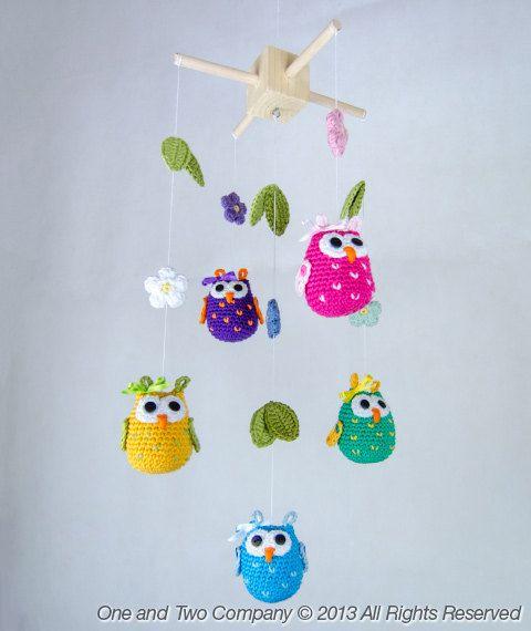 Owls And Flowers Mobile Pdf Crochet Pattern Phototutorial Etsy Móvil De Ganchillo Manualidades Móvil Flor