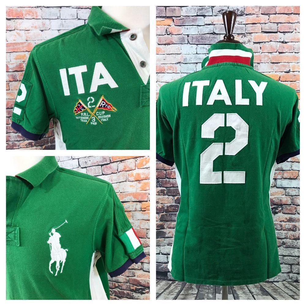 6efba7fbc Polo Ralph Lauren Italy Flag  2 Shirt PRL Cup Green Polo Shirt Mens ...