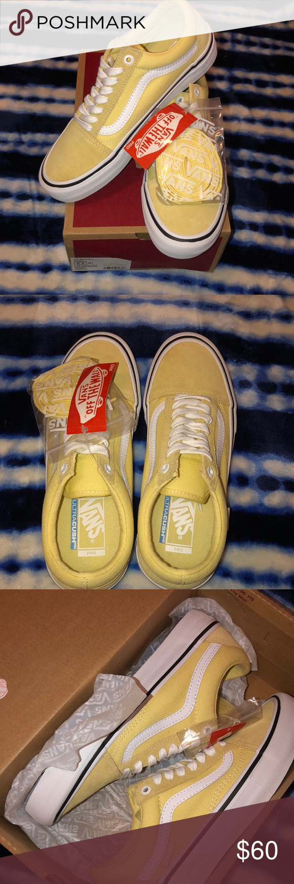 Vans Old Skool Pro Pale Banana & White Skate Shoes