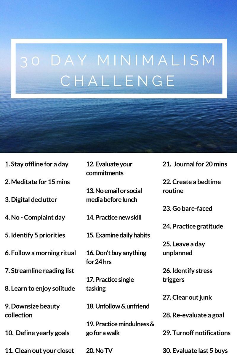 30 Day Minimalism Challenge Minimalism Challenge Minimalist