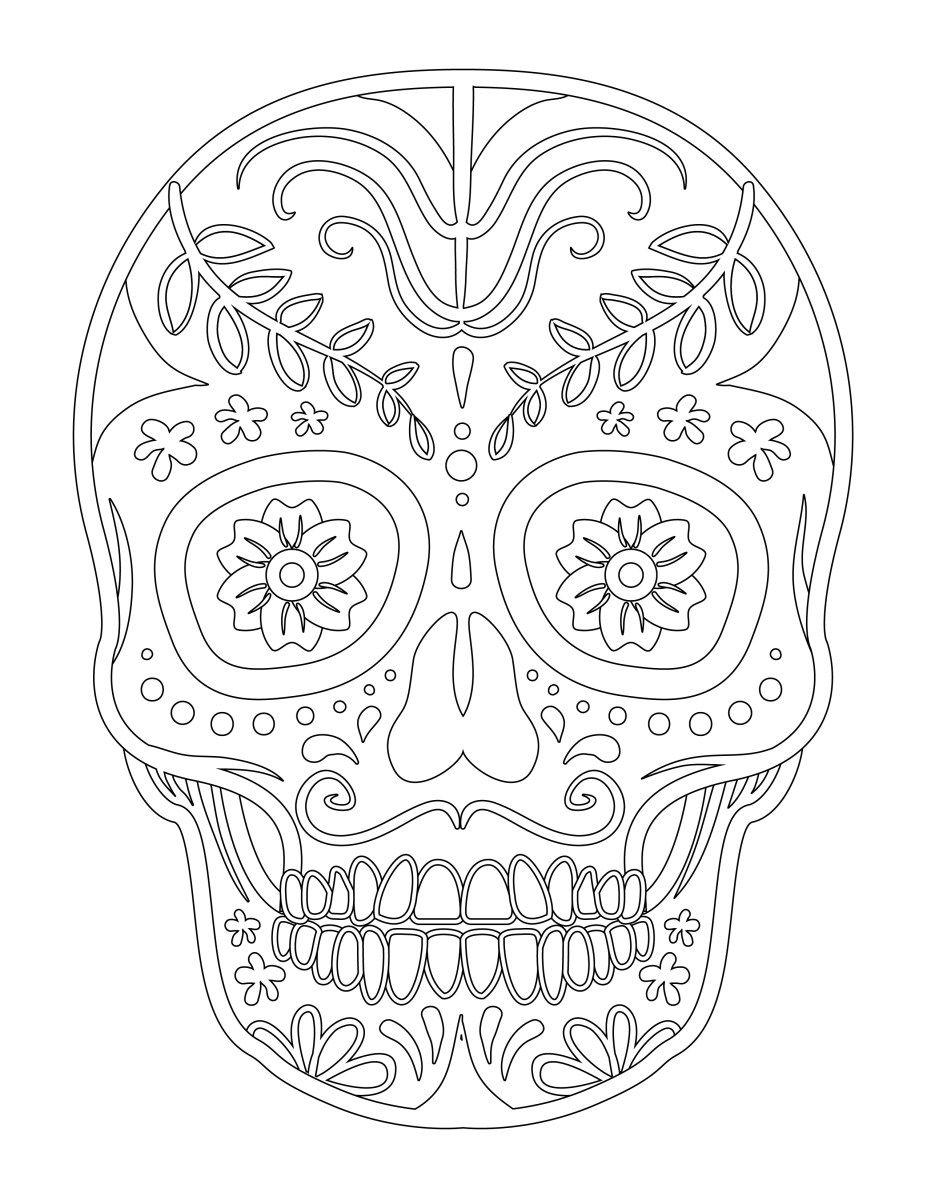 Halloween skull candy coloriage facile à imprimer (avec
