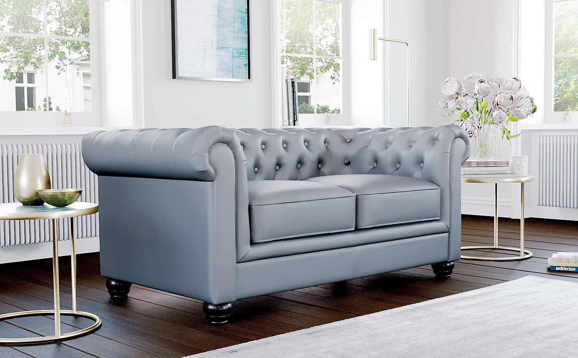 Hampton Grey Leather 2 Seater Chesterfield Sofa In 2020 Furniture Choice Furniture Sofa Furniture