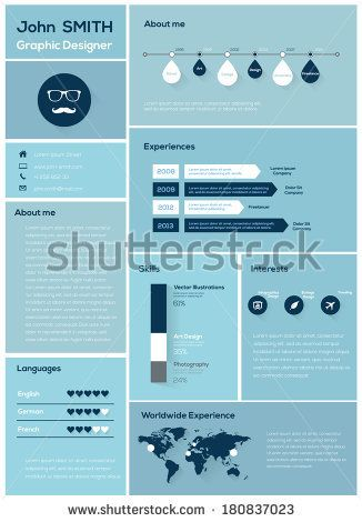Flat Resume with Infographics and Timeline Vector Illustration by