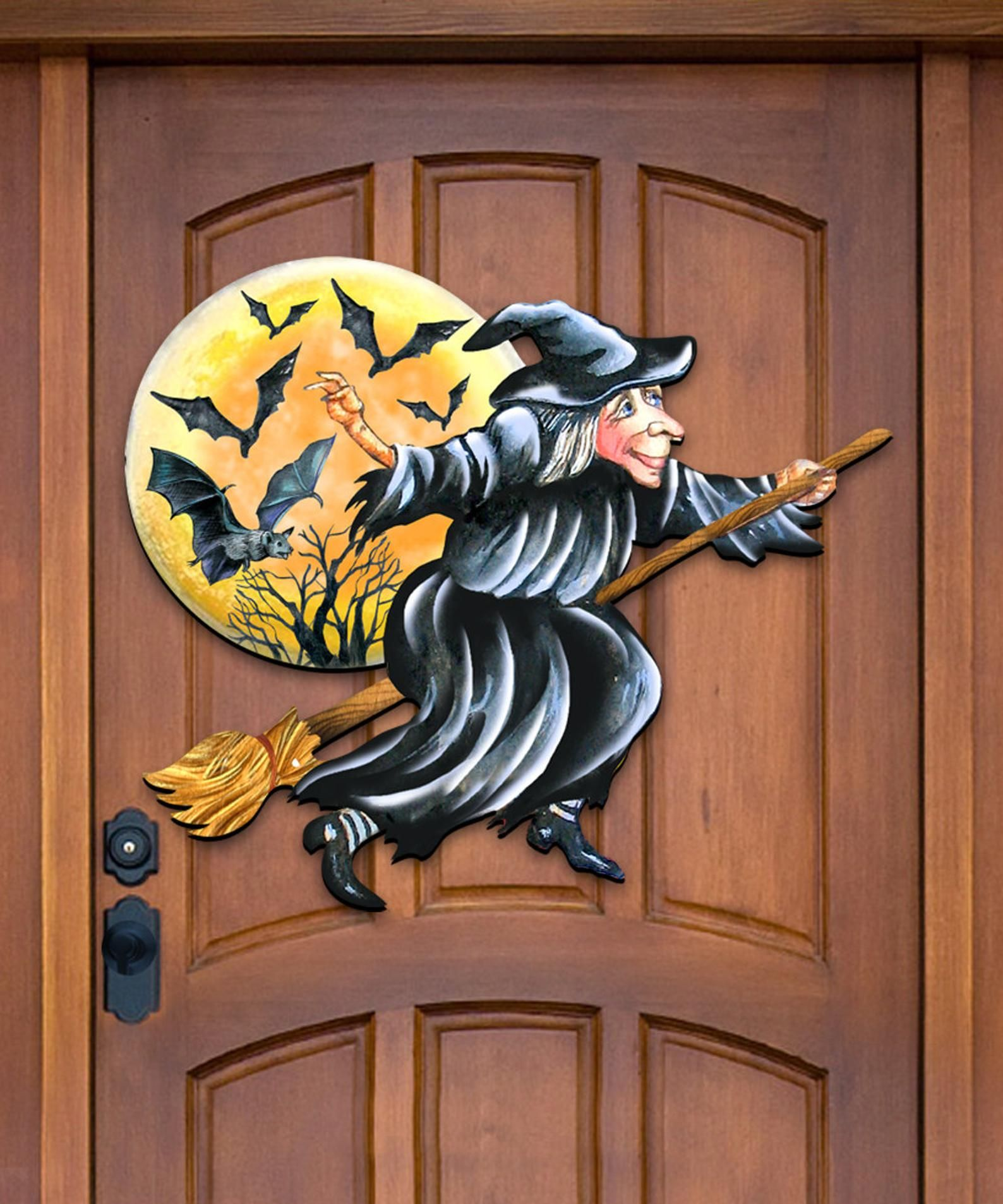 #8314010H domestic Fall Decor Halloween Witch DIY Coloring Wooden Door Hanger Free shipping Wall decor