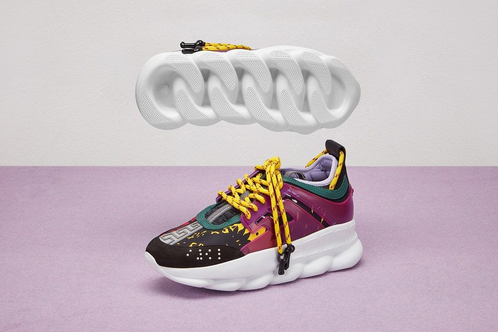 7cd25949fc Your First Look at Versace's Chain Reaction Sneaker For Women in ...