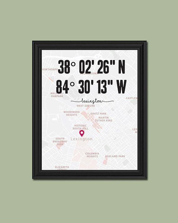 Lexington Ky Print Coordinates Latitude And Longitude Map Etsy Cute Wall Decor Baby Wall Decor Mermaid Wall Decor
