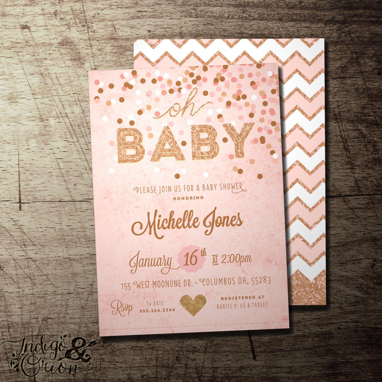 Oh Baby baby shower invitation. baby girl shower, sprinkle, confetti ...