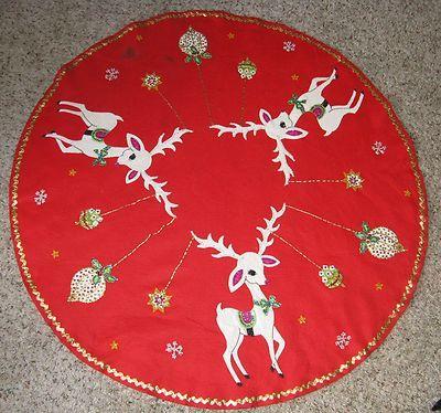 Vintage Christmas Tree Skirt ~ Red Felt w/ White Reindeer