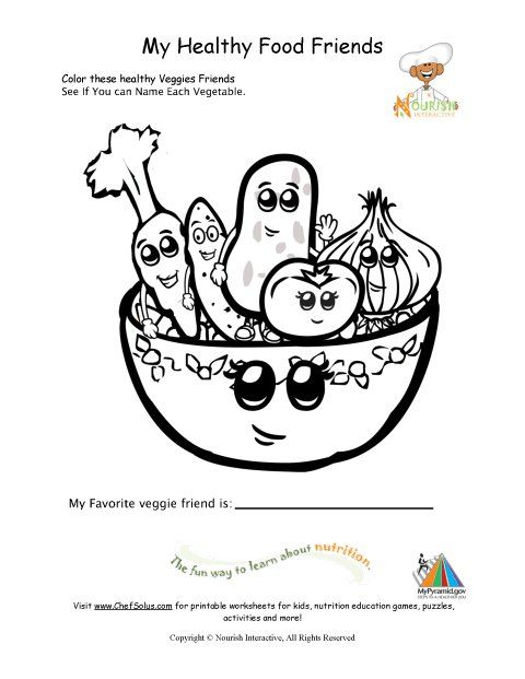 Healthy Foods Coloring Page For Young Children (will use when ...