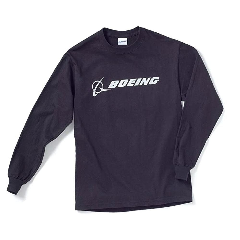 A versatile Boeing signature T-shirt with long sleeves! Heavyweight, 100% preshrunk cotton; seamless knit collar and taped neck and shoulder seams provide comfort; long set-in sleeves with rib knit cuffs; double-needle-hemmed bottom offers durability.