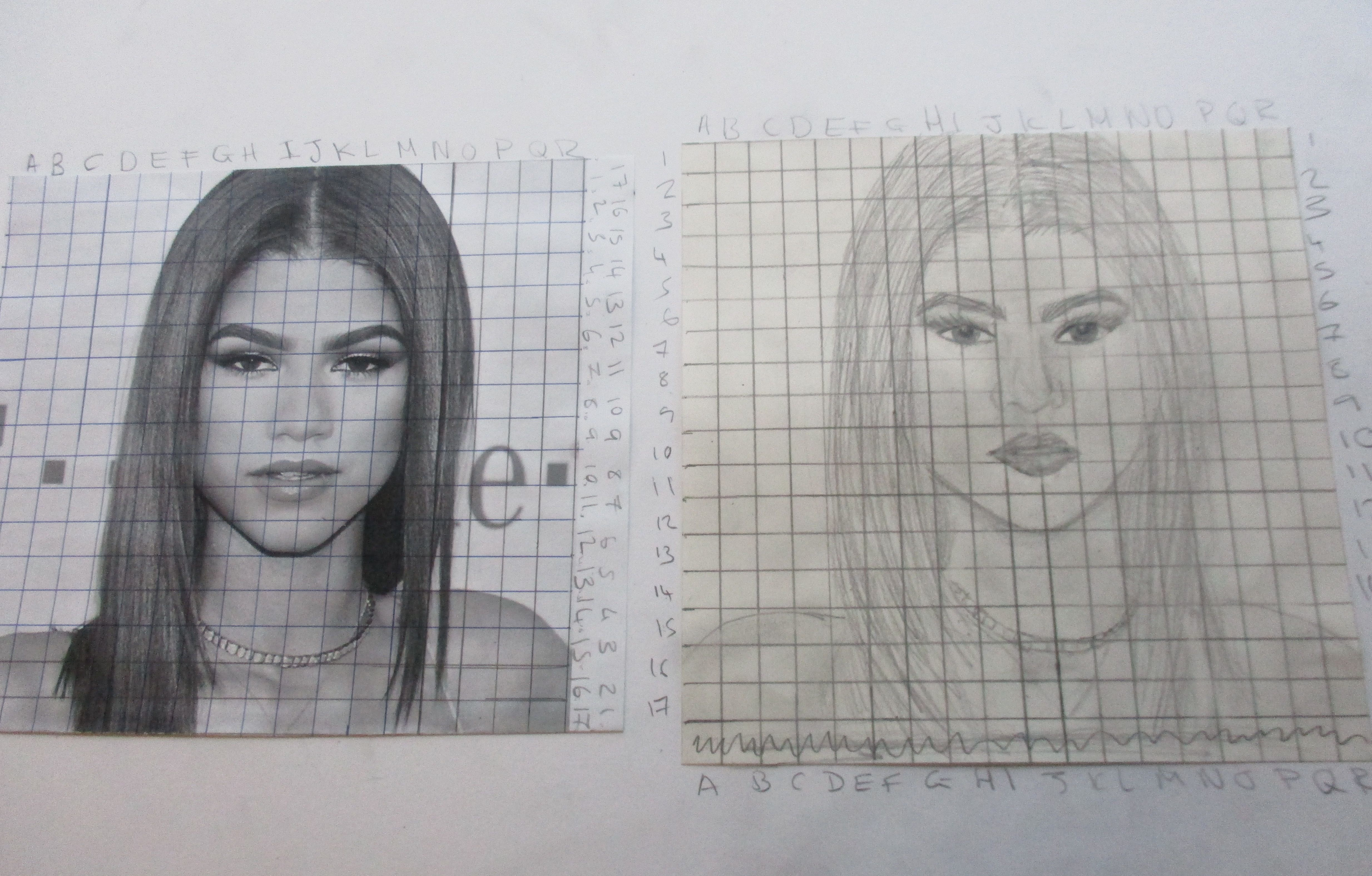 Tonal Drawings Of Portraits Using The Grid Method With