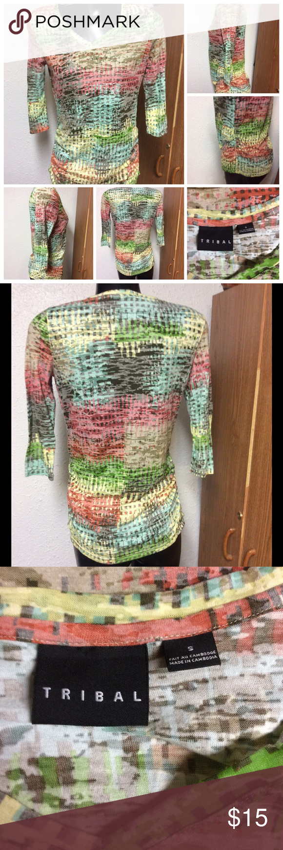 Tribal Top Semi sheer vibrant burnout tee. 3/4 sleeve. Vee neckline. Gently used. Guessing it's a polyester blend top. Tribal Tops Tees - Long Sleeve
