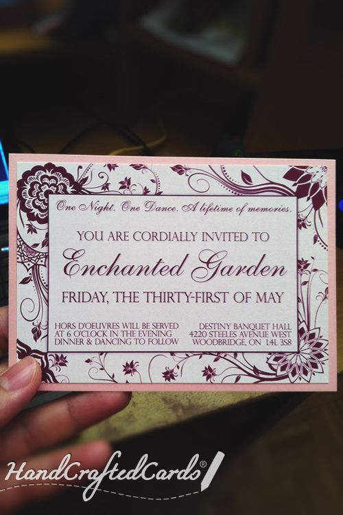handcraftedcards raspberry prom invitation handcraftedcards