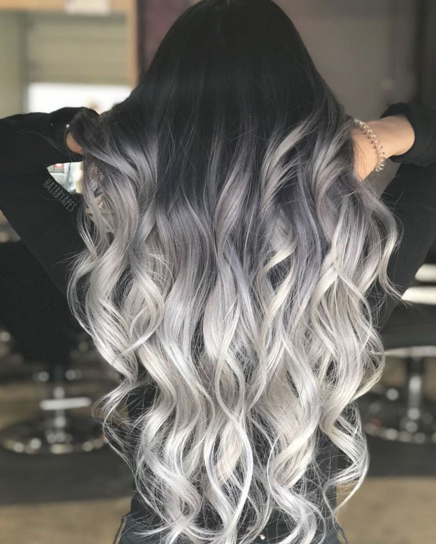 Gorgeous Black To Silver Ombre In 2020 Grey Ombre Hair Hair Styles Silver Hair Color