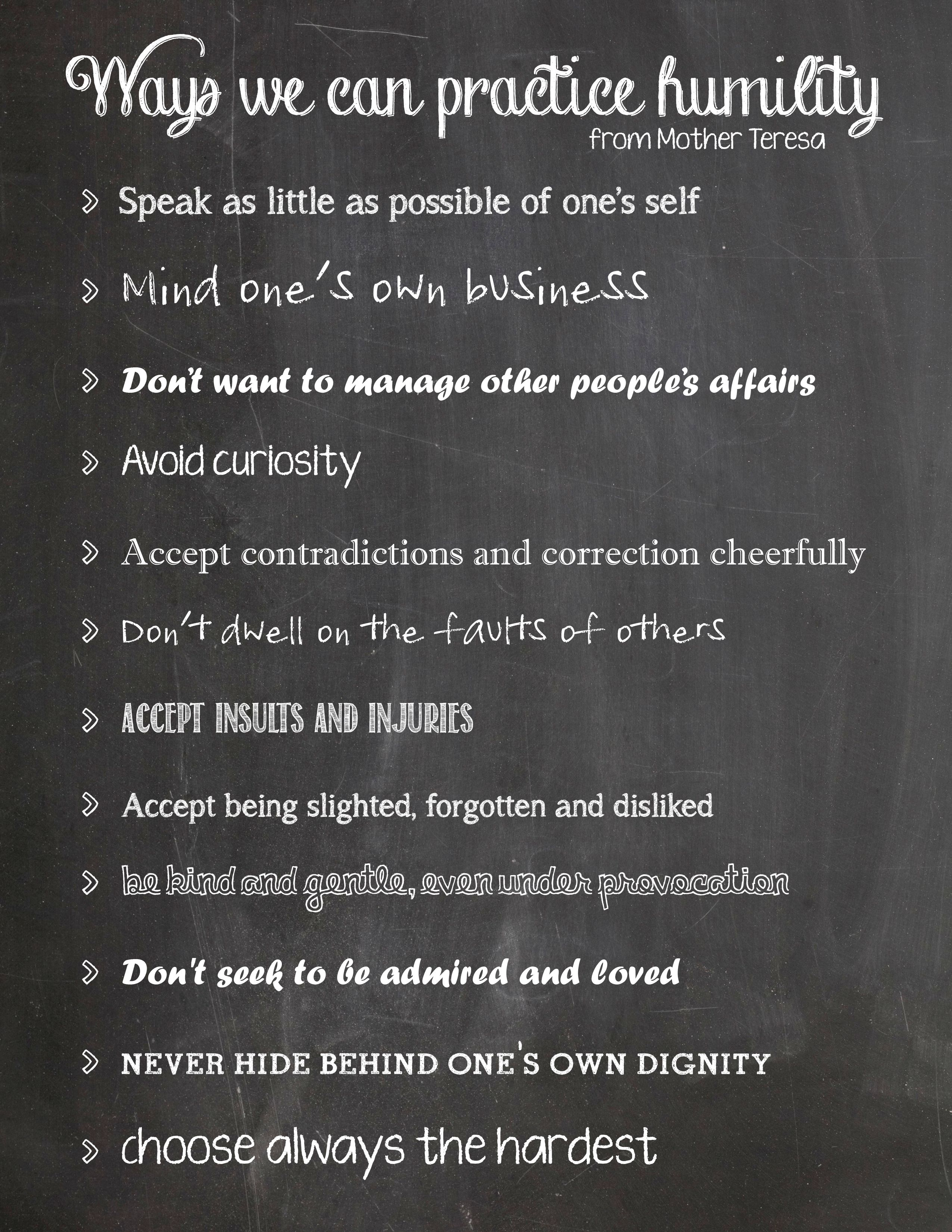 Free Printable Humility List From Mother Teresa