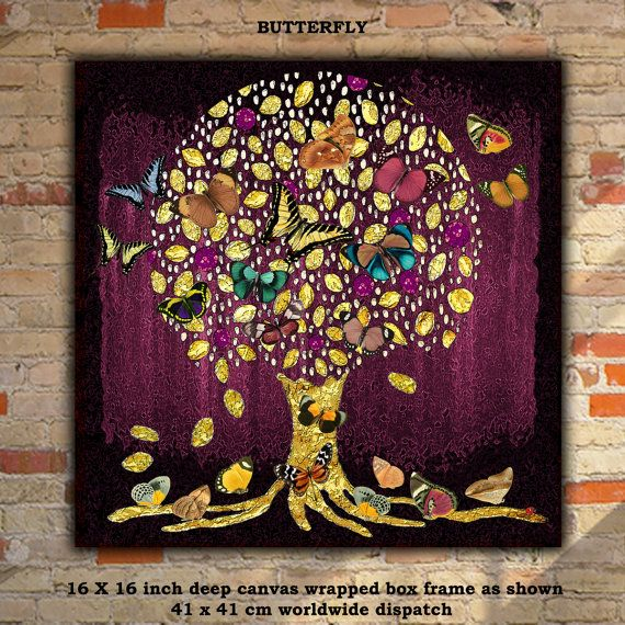 Magenta Tree of Life with Birds or Butterflies 16 x 16 inch deep Canvas  framed Worldwide Dispatch Unique Rich colours Signed by Artist
