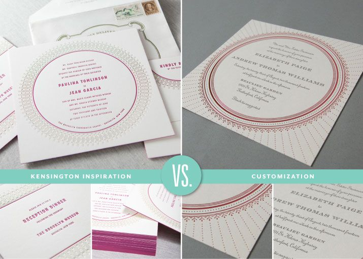 Kensington Inspiration & New Design Customization #foil #letterpress #stylish #border #fuchsia #taupe #gold #blush #coloredpaper #duplexing #engagedandinspired   Custom Letterpress Invitations and Stationery | Dauphine Press