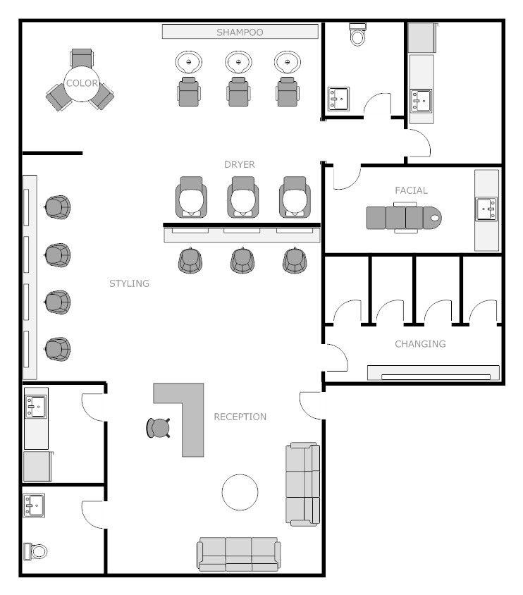 Salon Floor Plan 1 Example Smartdraw Salon Interior Design Room Layout Planner Floor Plan Design