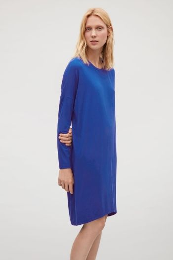 12802849d649 COS image 1 of Jersey dress with silk panel in Blue | Style ...