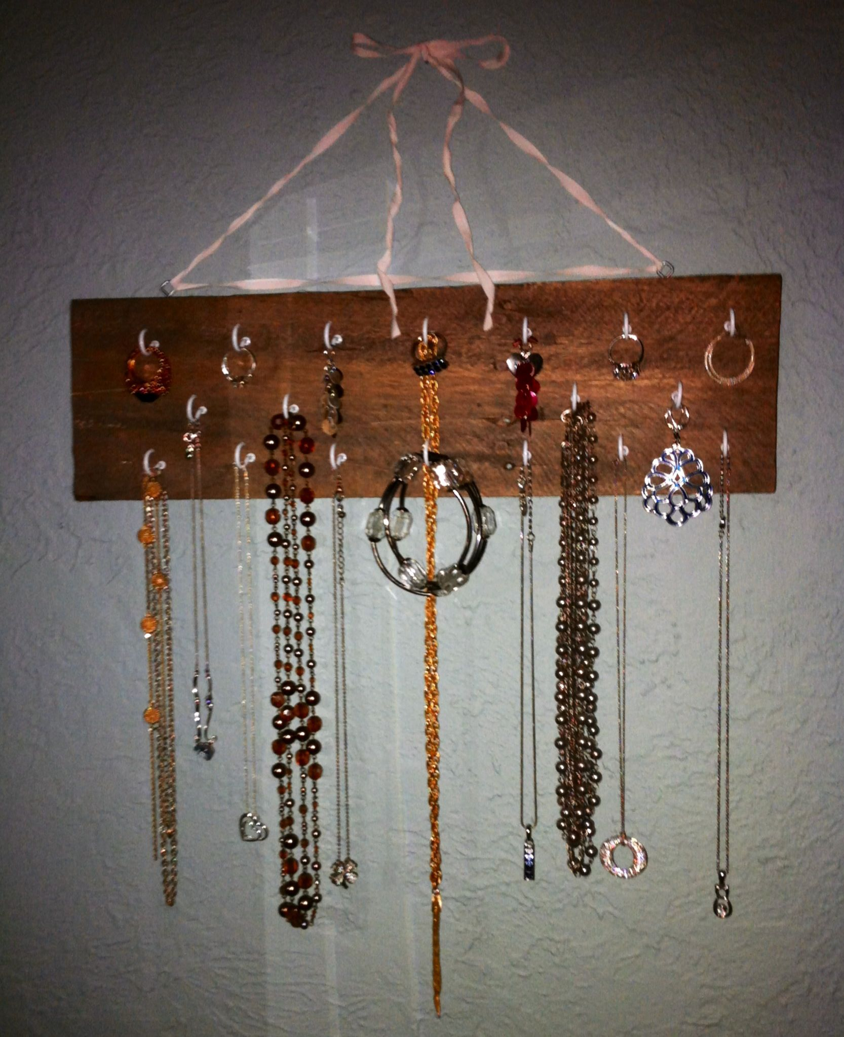 Quick DIY project reclaimed wood jewelry organizer display
