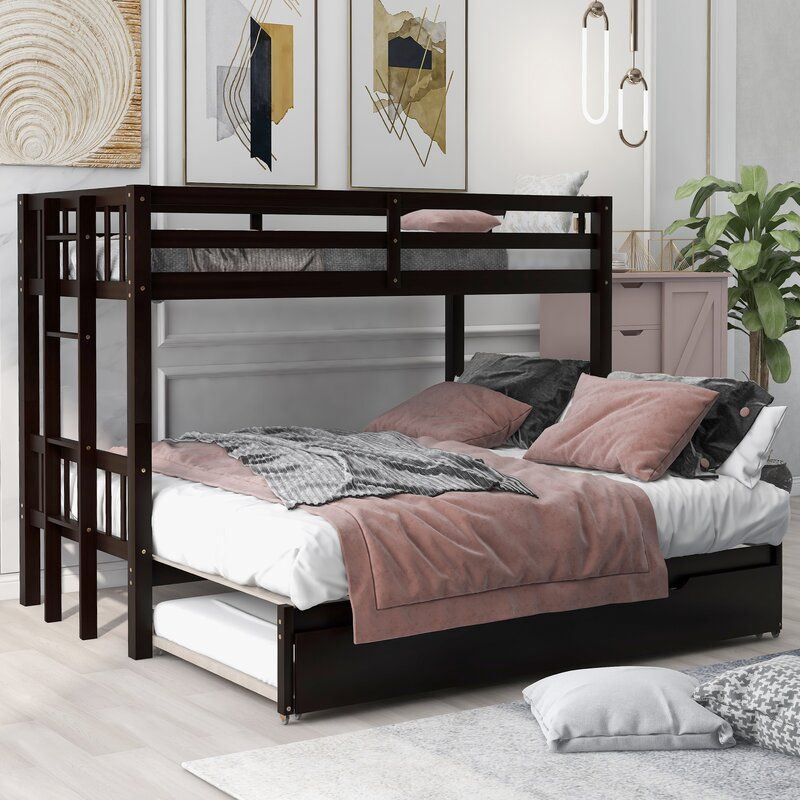Esmeralda Twin Over Twin Bed With Trundle Bed Frame Color Walnut In 2020 Bunk Bed With Trundle Twin Bunk Beds Bunk Bed Rooms