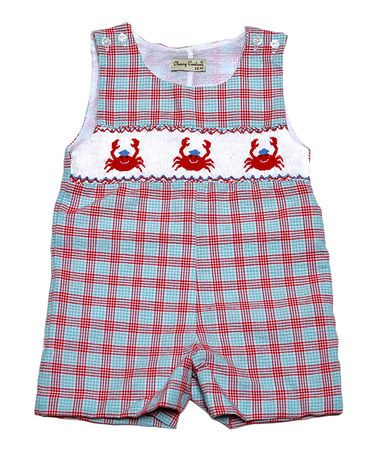 Good Lad Baby Boys Crab Embroidered Smocked Shortall Set