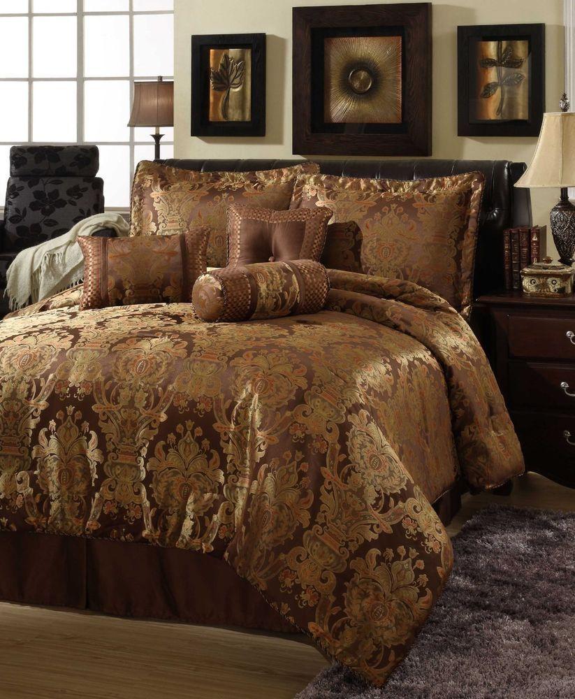 Beautiful Rich Elegant 7 Pc Brown Gold Comforter Set Queen